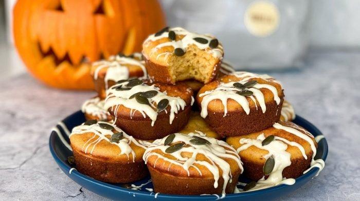 Proteinreiche Halloween Kürbis Muffins