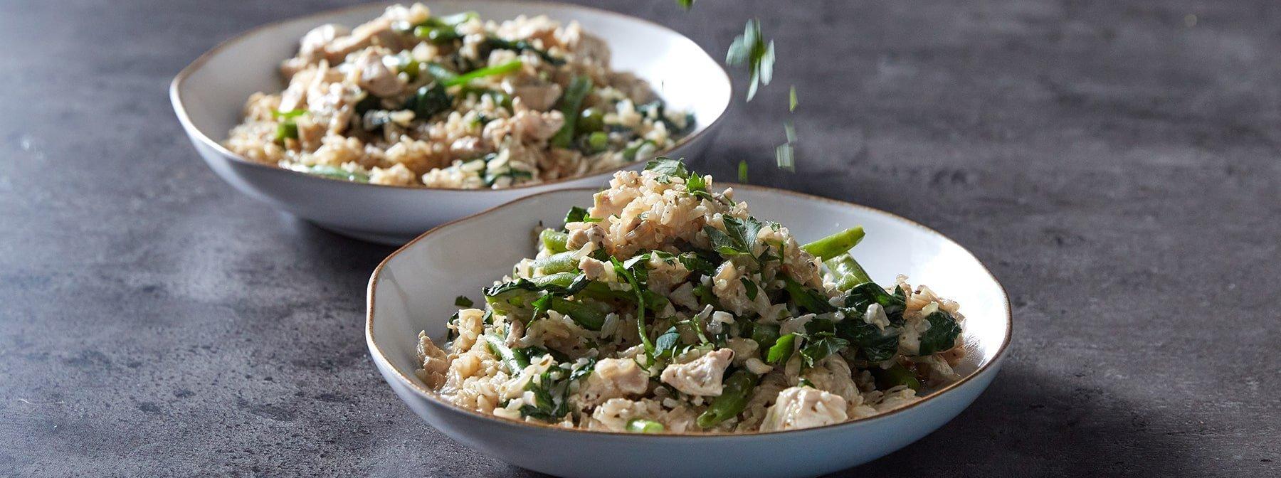 Cremiges Knoblauch-Hähnchen mit Reis