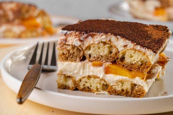 Protein Tiramisu mit Pfirsich   Gesundes Dessert