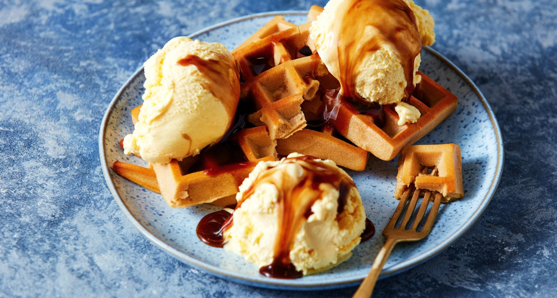 Protein Pancake Batter Waffles and Ice Cream