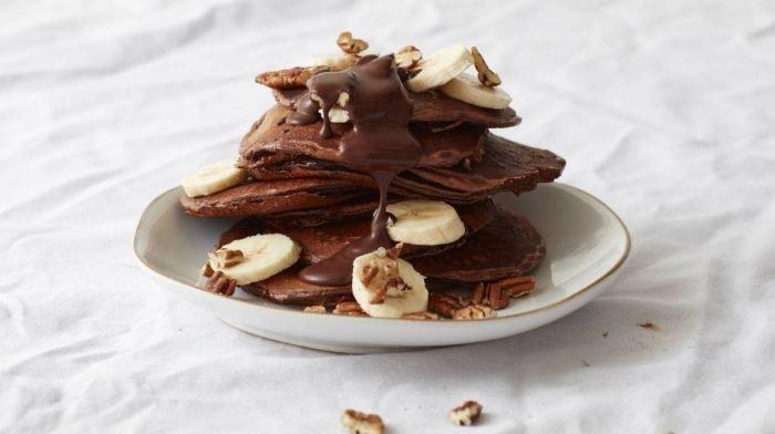 Banana Pecan Protein Pancakes with Gooey Chocolate Sauce