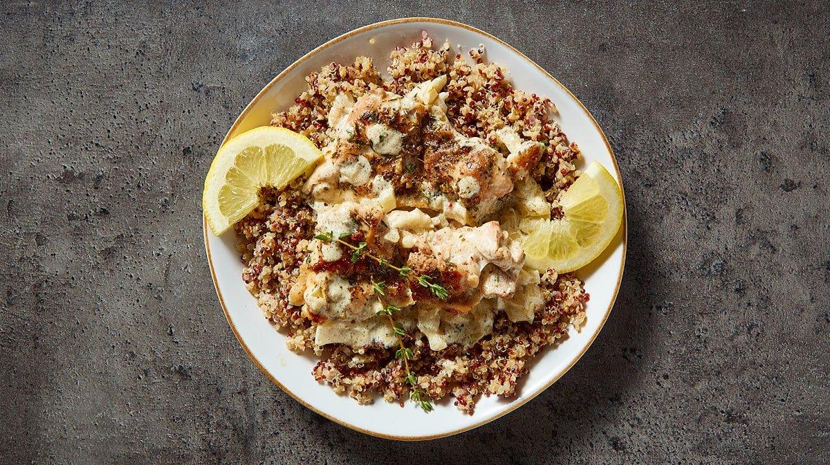 Pollo al limón cremoso con un toque de tomillo | Meal prep