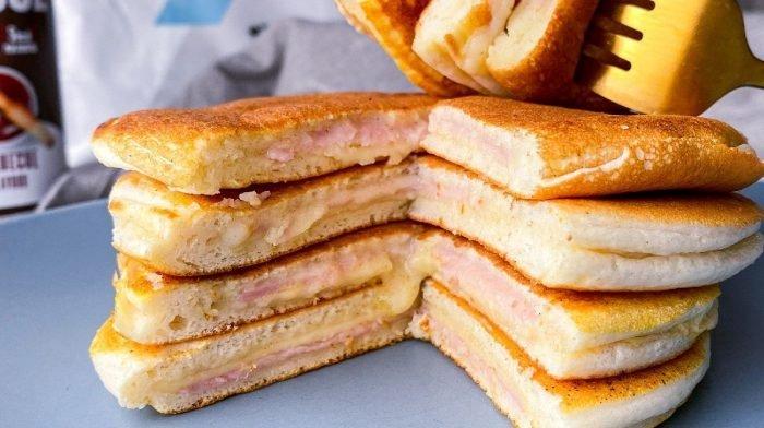 Met Ham & Kaas Gevulde Pancakes | Zou jij deze Toastie Pancake proberen?