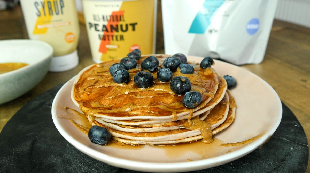 Blueberry & Butterscotch Protein Pancakes