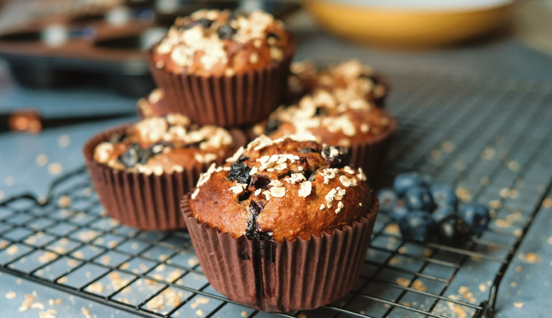 High-Protein Blueberry Oat Muffins