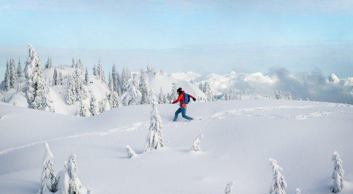 Man running through snow
