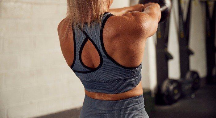 Back of Raw sports bra