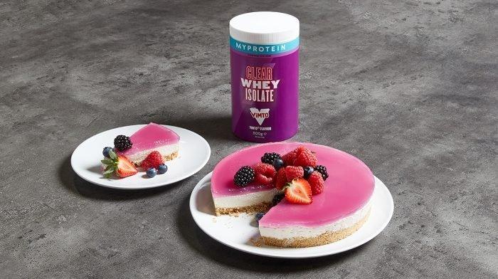 High-Protein Vimto® Layered Cheesecake