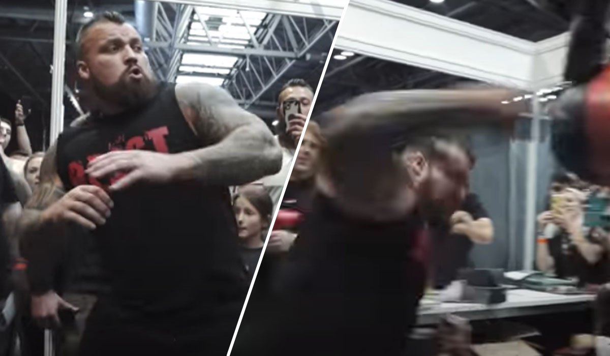 Eddie Hall Destroys Punch Bag Machine With Huge Right Hand