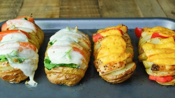 Ízletes töltött hasselback burgonya | Vegetáriánus és húsos verzió