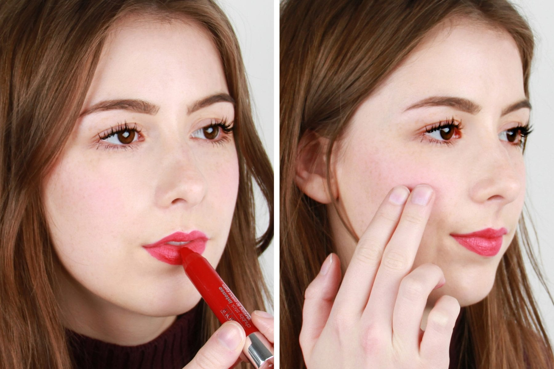 beauty hack use lipstick as blush