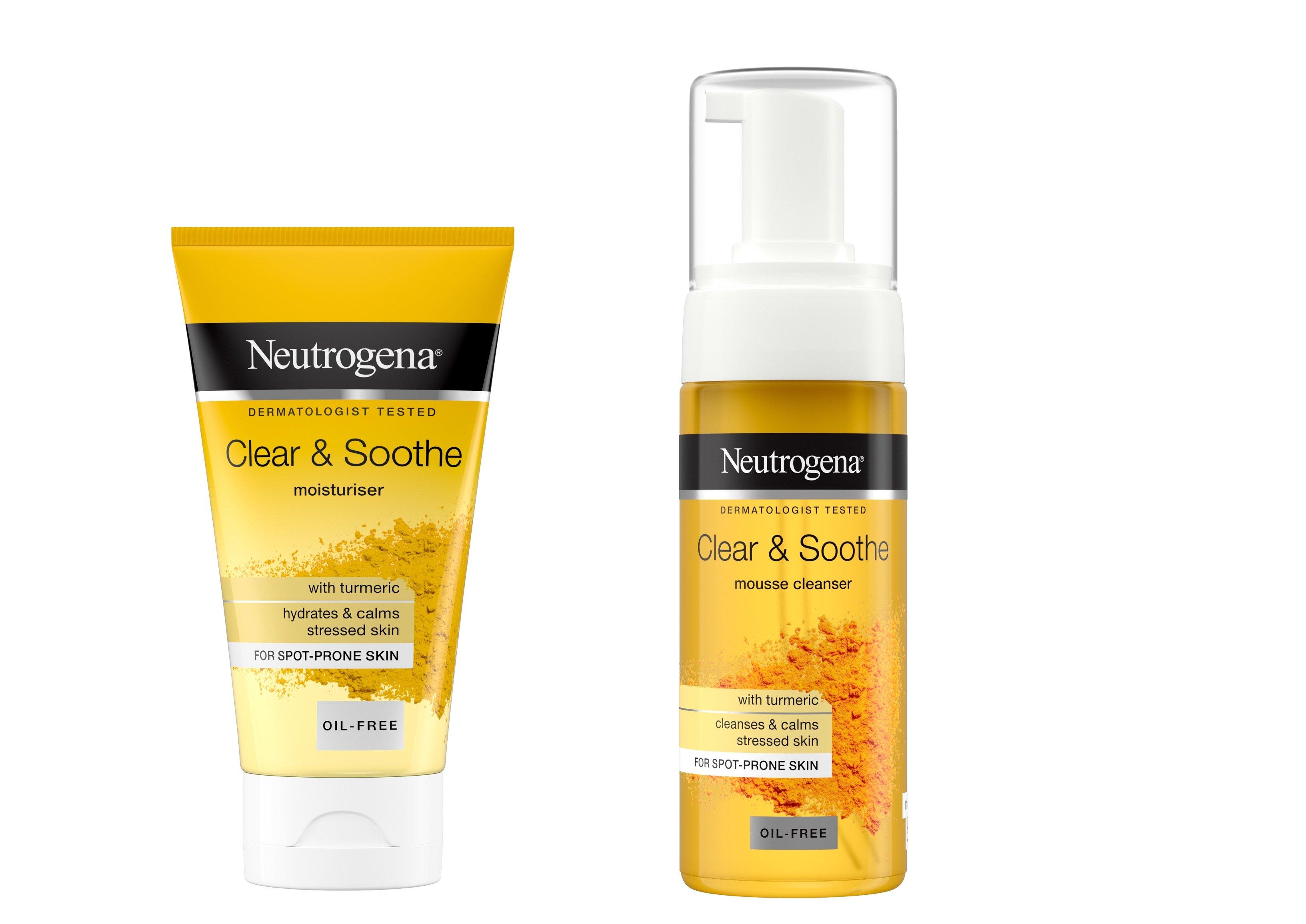 Lugnande och vårdande gurkmeja i Neautrogena Clear & Soothe