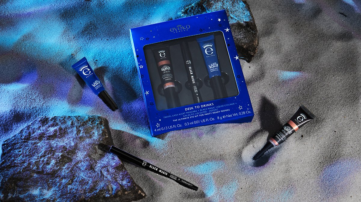eyeko - desk to drinks and brow kit - get to know cosmic christmas