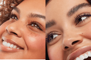 Coloured mascara on models