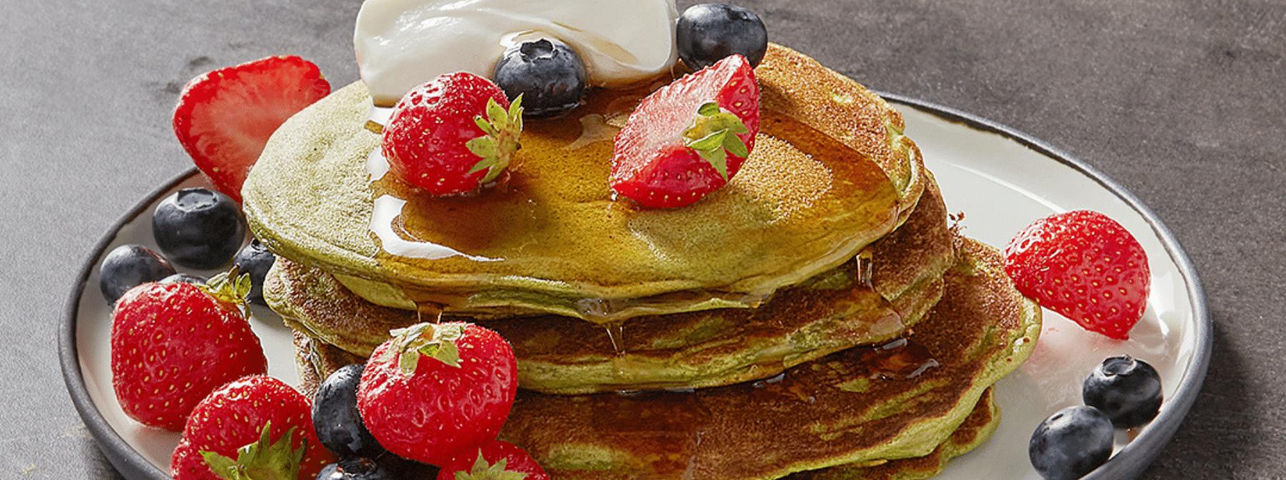 早餐的美味選擇 高蛋白抹茶美式煎餅
