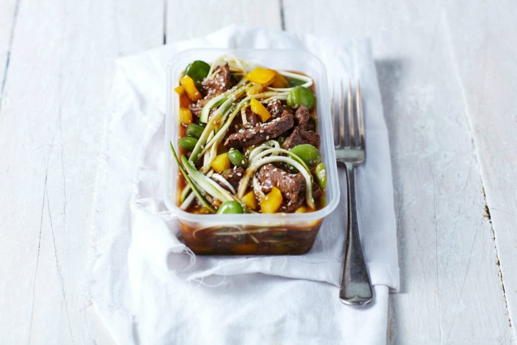 Low-Carb Teriyaki Beef Zoodles | 4-Day Beef Meal Prep