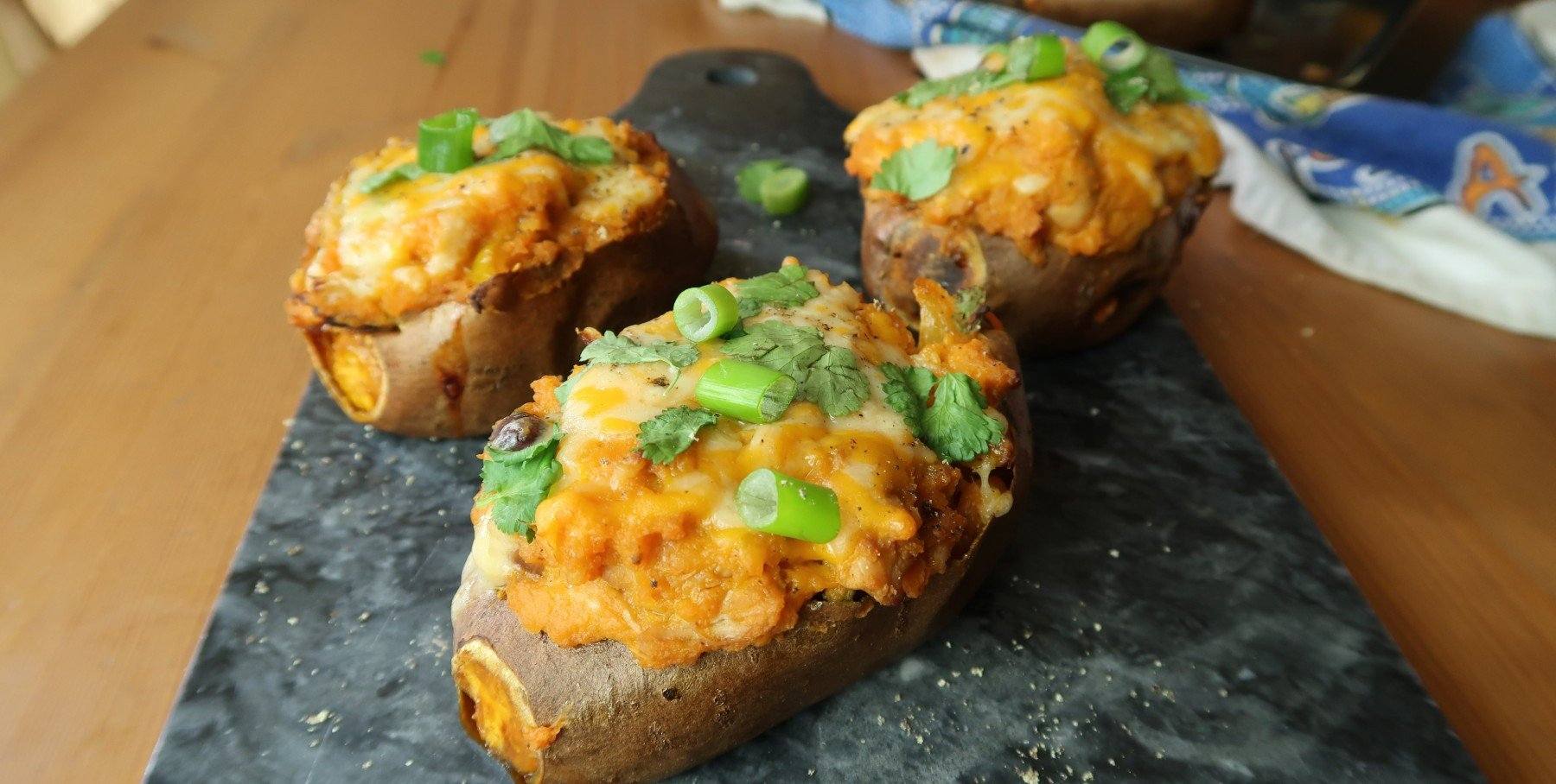 Fully Loaded Sweet Potato Skins