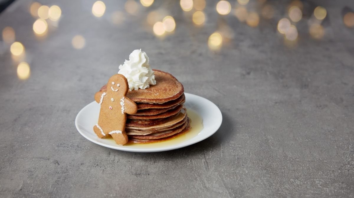 Gingerbread Protein Pancakes   Brunch Just Got Festive