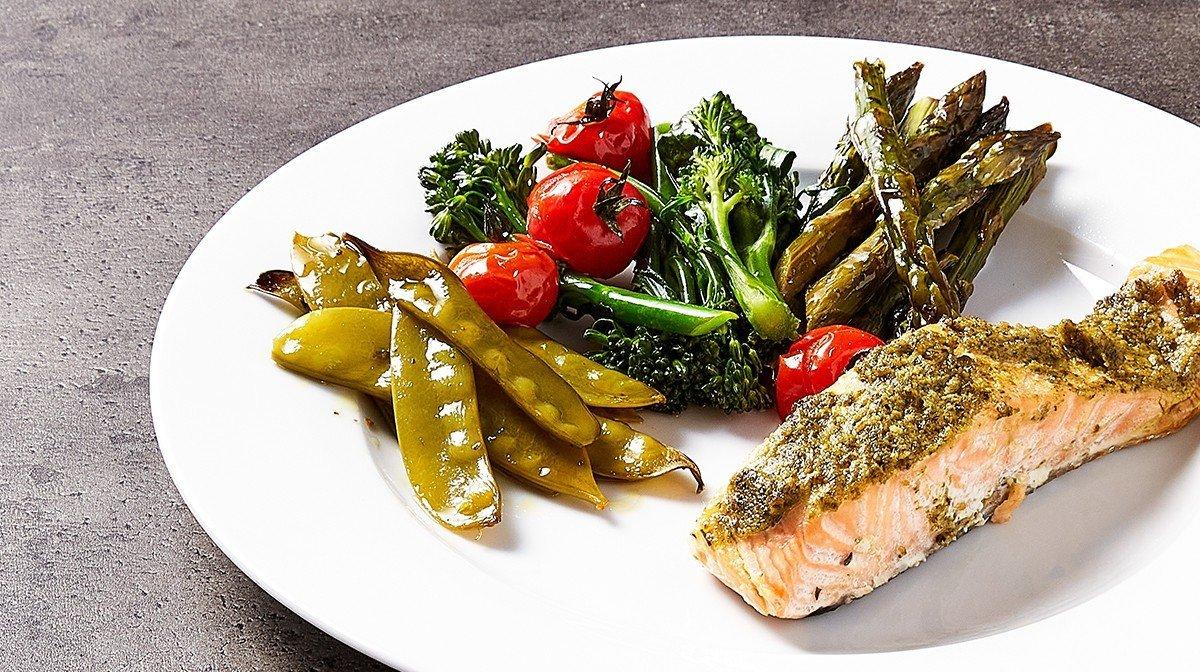 One-Tray Pesto Salmon Meal Prep | Mood-Boosting Foods