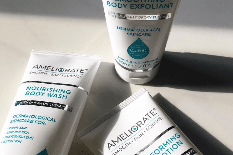 Gillian's favourite Ameliorate products that helped transform the bumps on her upper arms.