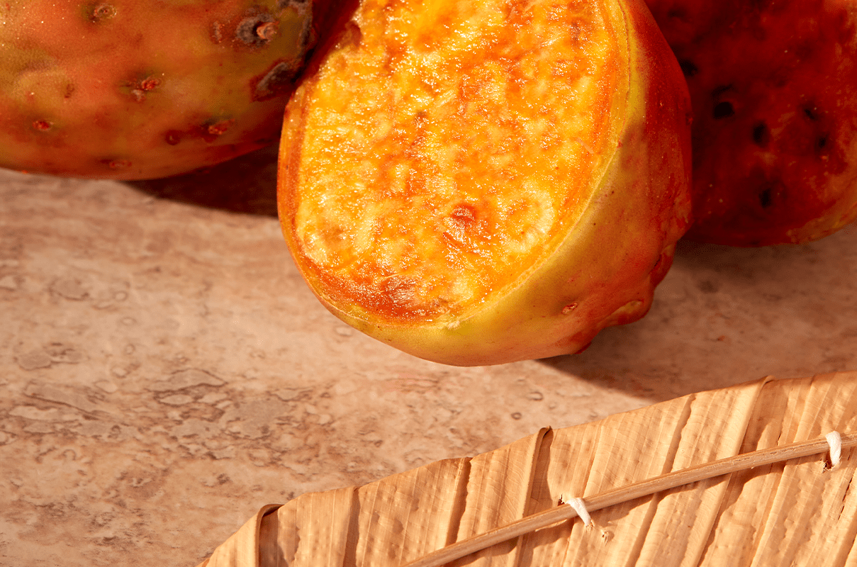 Natural hair ingredient the prickly pear is cut in half showing the orange textured inside and prickly outside.
