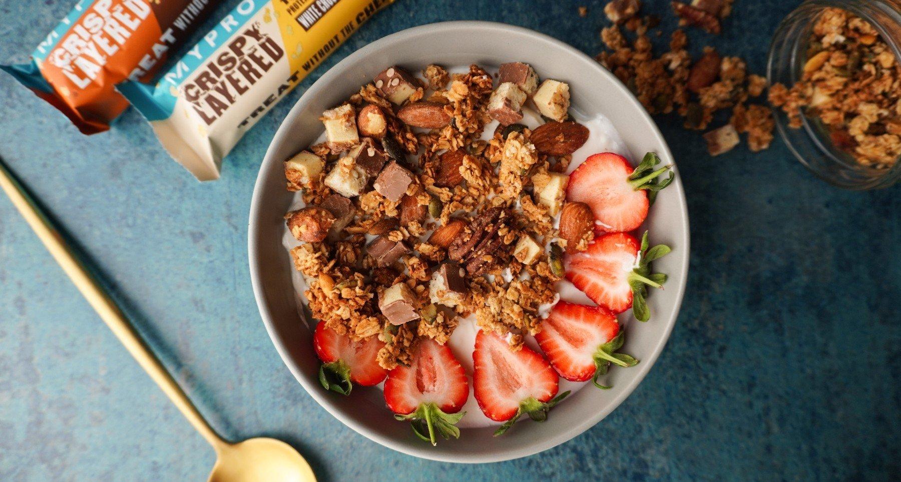 Chrumkavá granola sproteínovou tyčinkou | Domáci recept na zdravú granolu