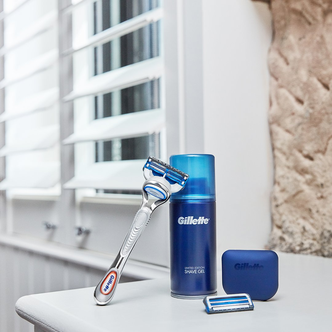 The Gillette SkinGuard Sensitive Razor and a shaving gel for sensitive skin.