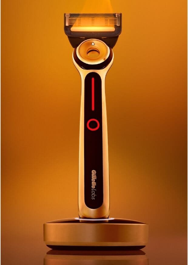 The GilletteLabs Heated Razor delivers soothing warmth at the touch of a button.