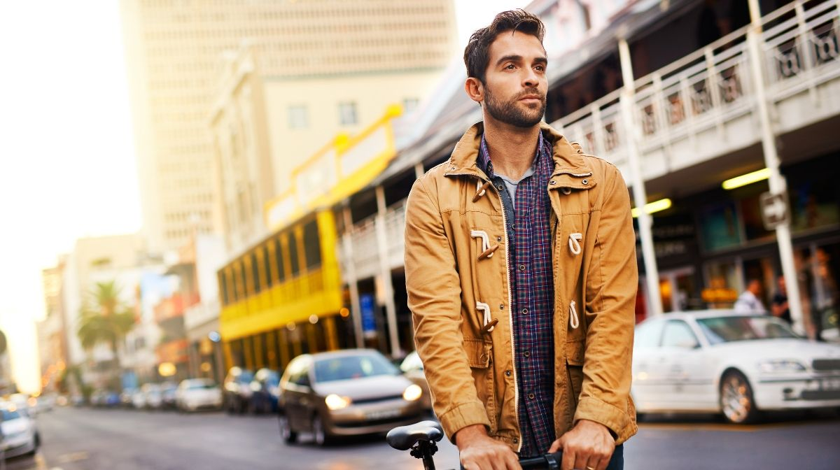 stylish man modelling clothes in different patterns