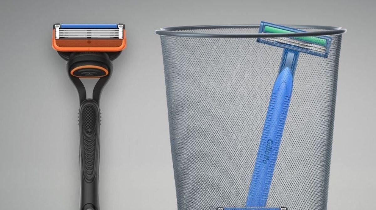 A refillable Gillette razor next to a razor discarded in a bin