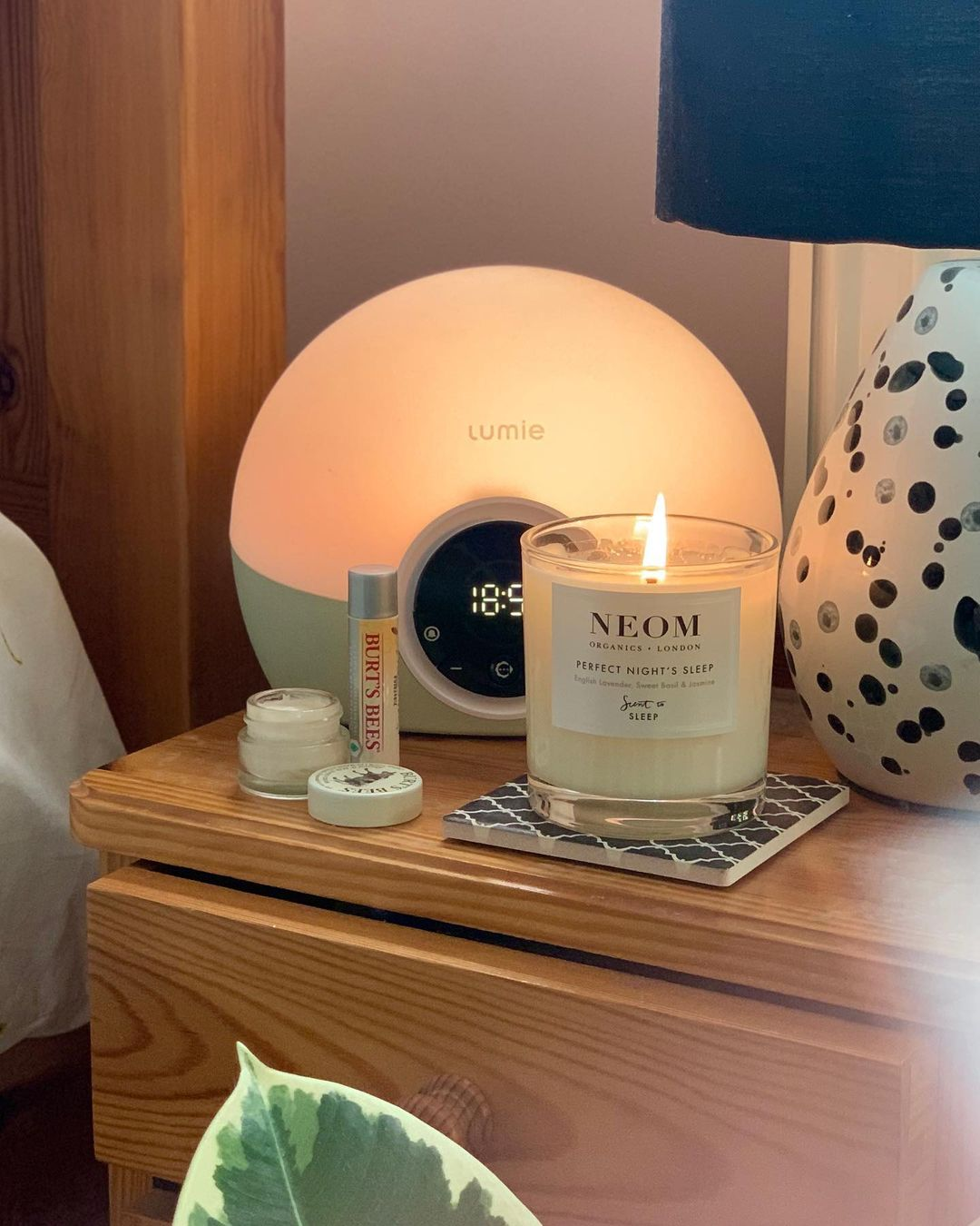 Bedside lamp with candle