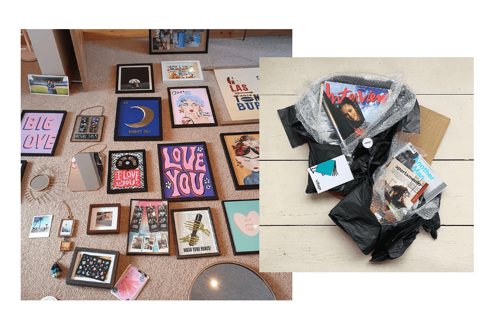 Framed art prints and magazines