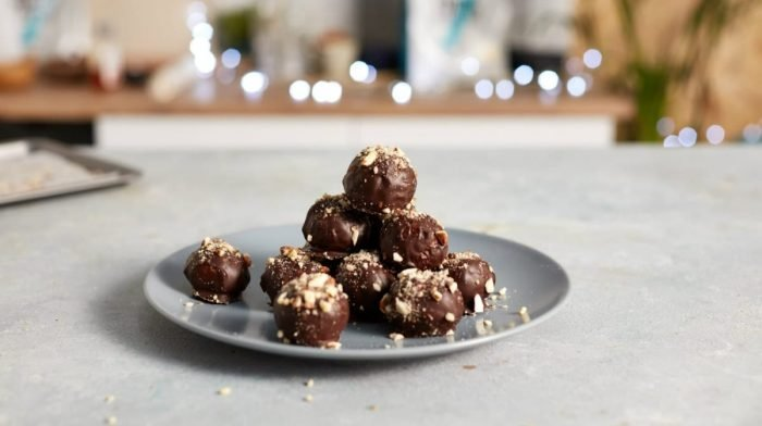 Chocolate Christmas Protein Balls