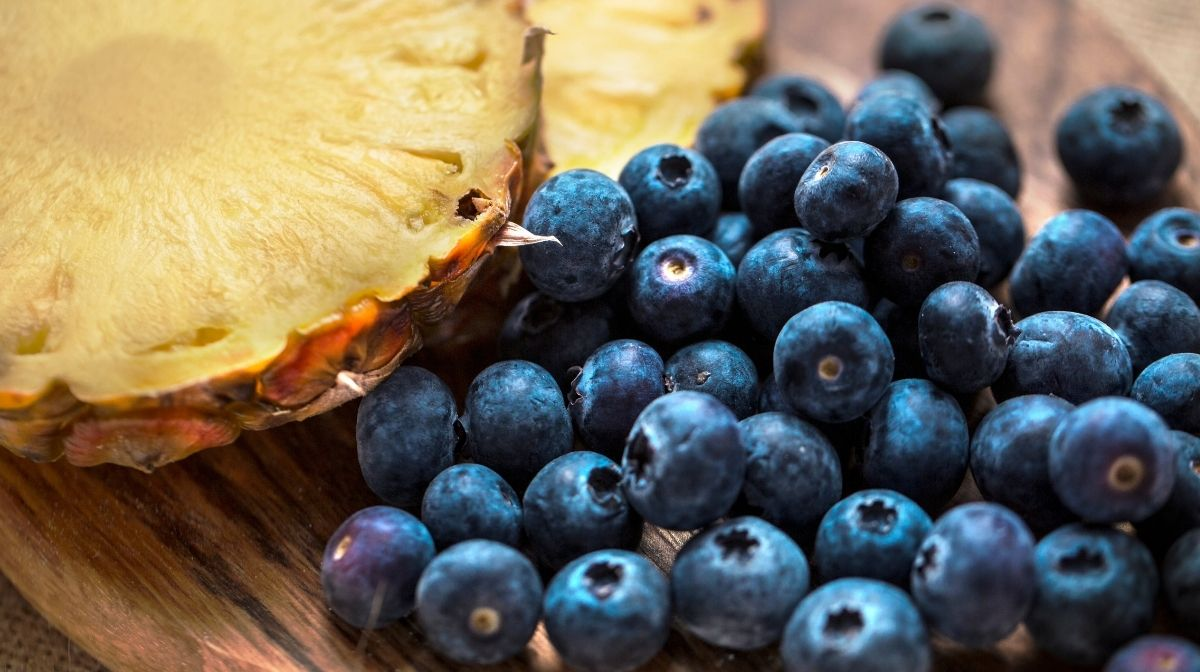 fresh blueberries and pineapple