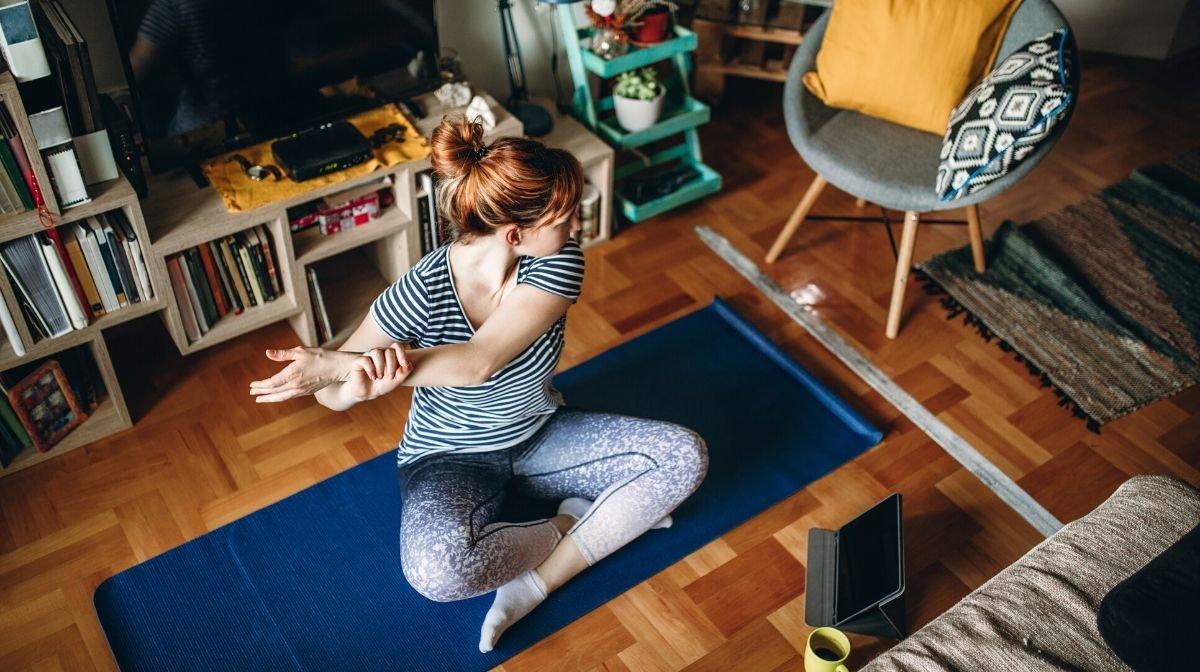 woman following home workout plan