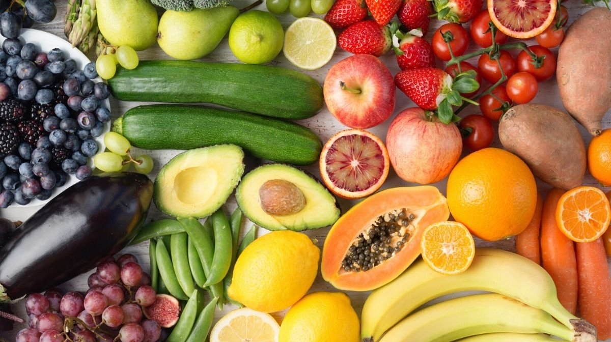 colourful whole food fruit and vegetables
