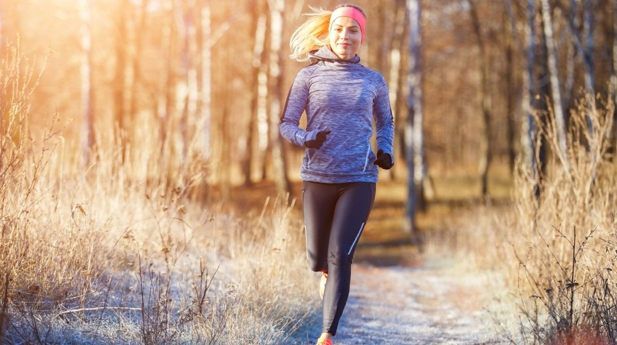 woman running outdoors in the winter