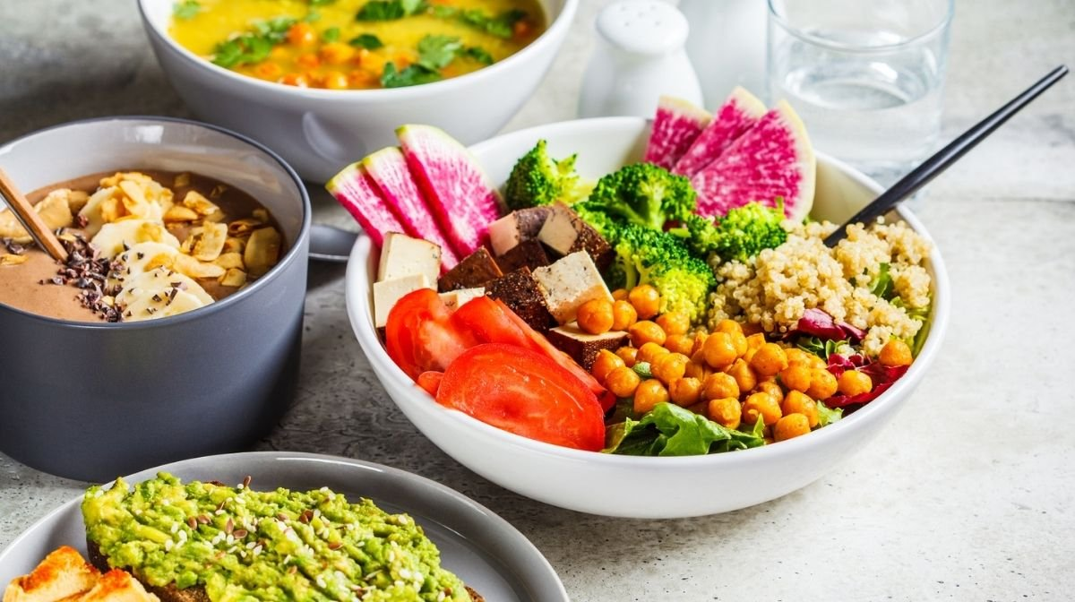 selection of colourful vegan food