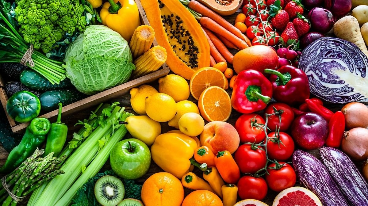 colourful fresh fruit and veg