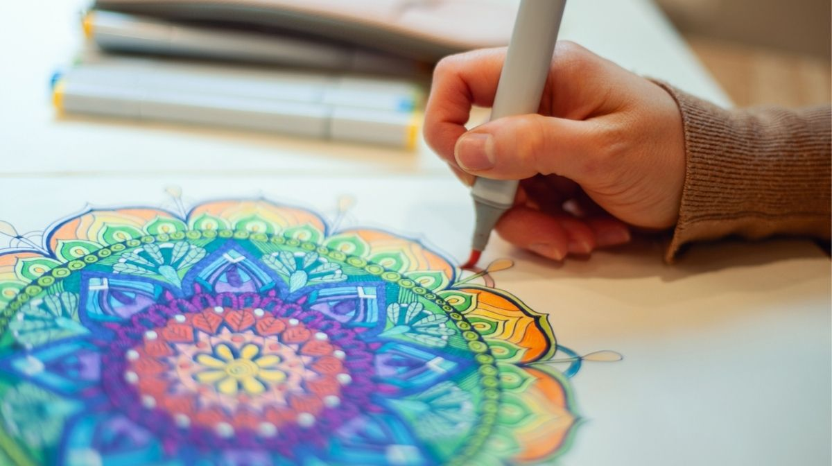 colouring in a mandala design
