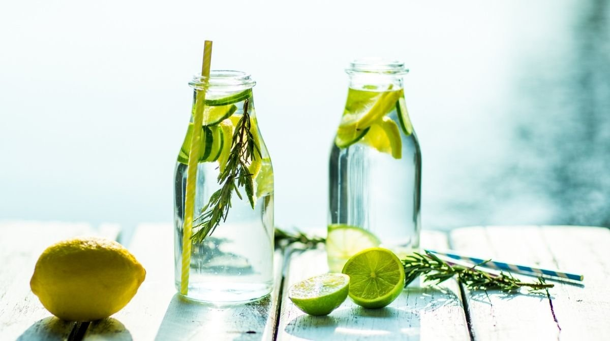 water infused with cucumber and lime