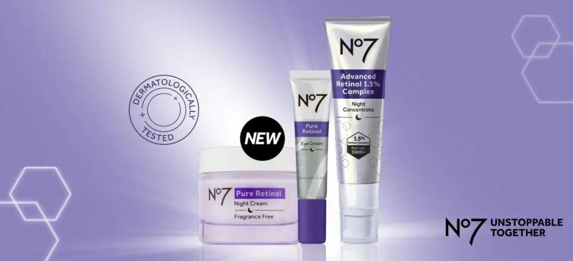 No7 pure retinol eye cream, including an eye cream, night cream and retinol serum