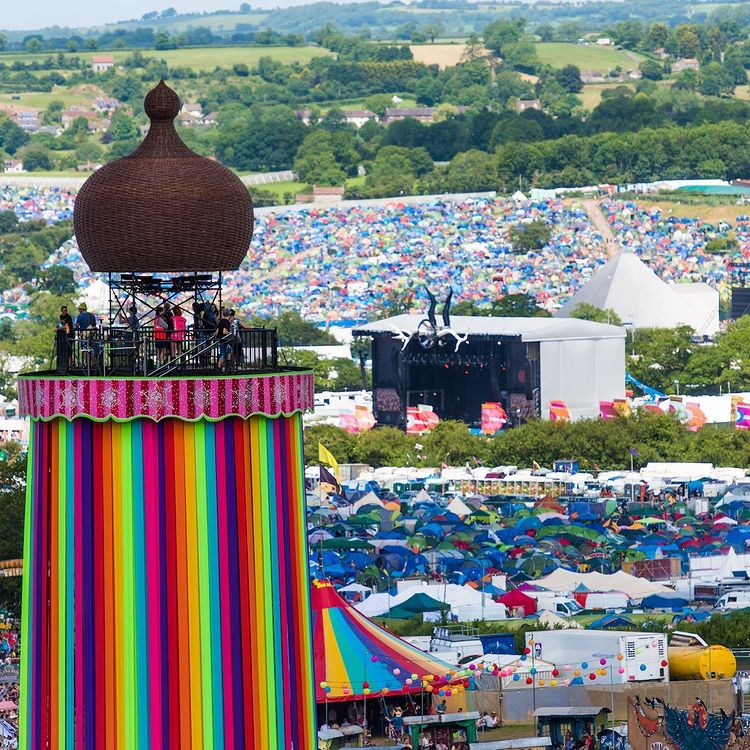 View of glastonbury festival over worthy farm