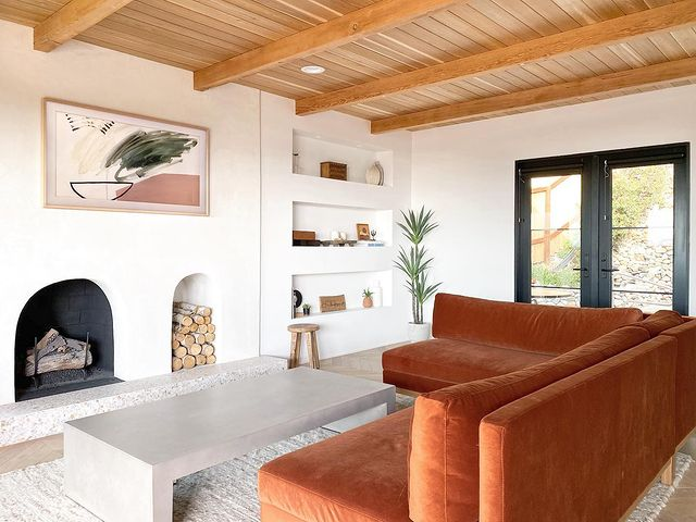 Living room space with large leather sofa
