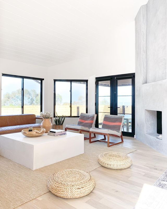 Living room space with large windows and fireplace
