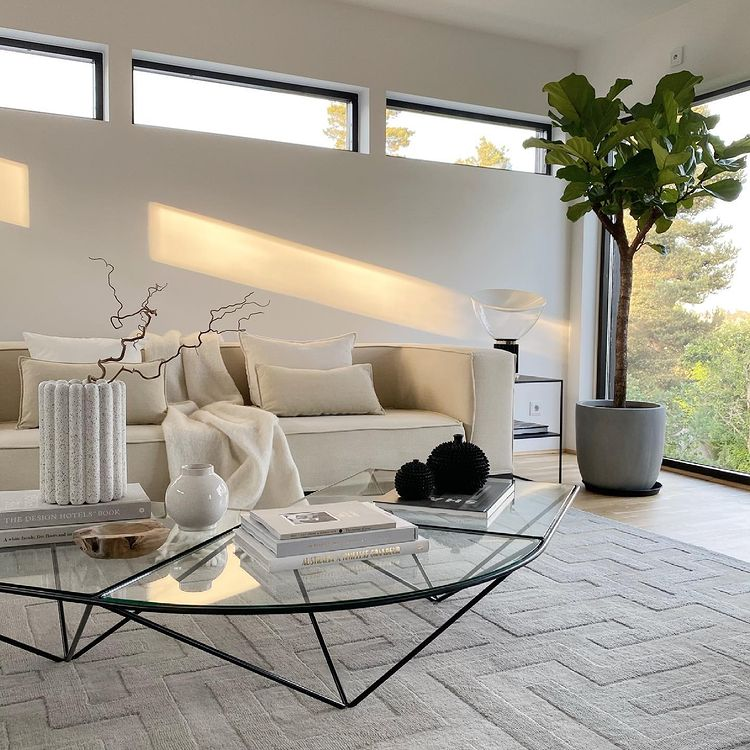 Living room space with a sofa and coffee table
