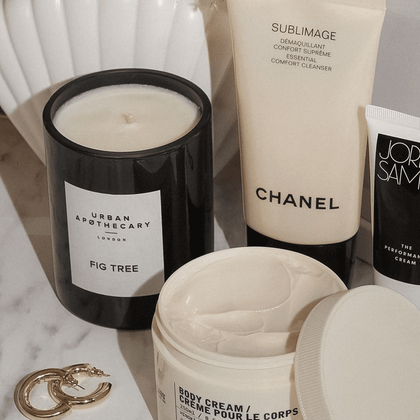 collection of beauty items