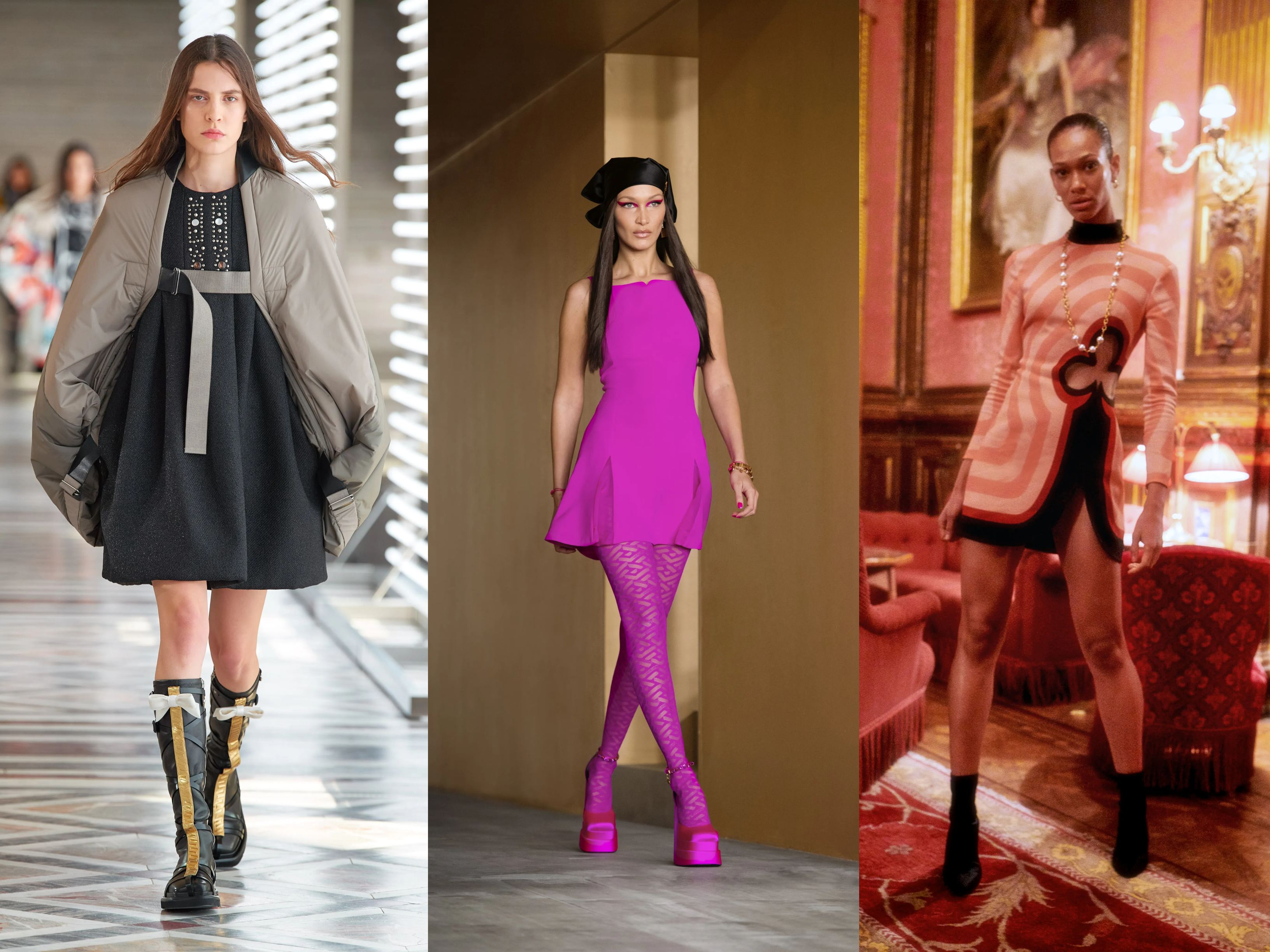 Models wearing AW21 trends Mini skirts and dresses