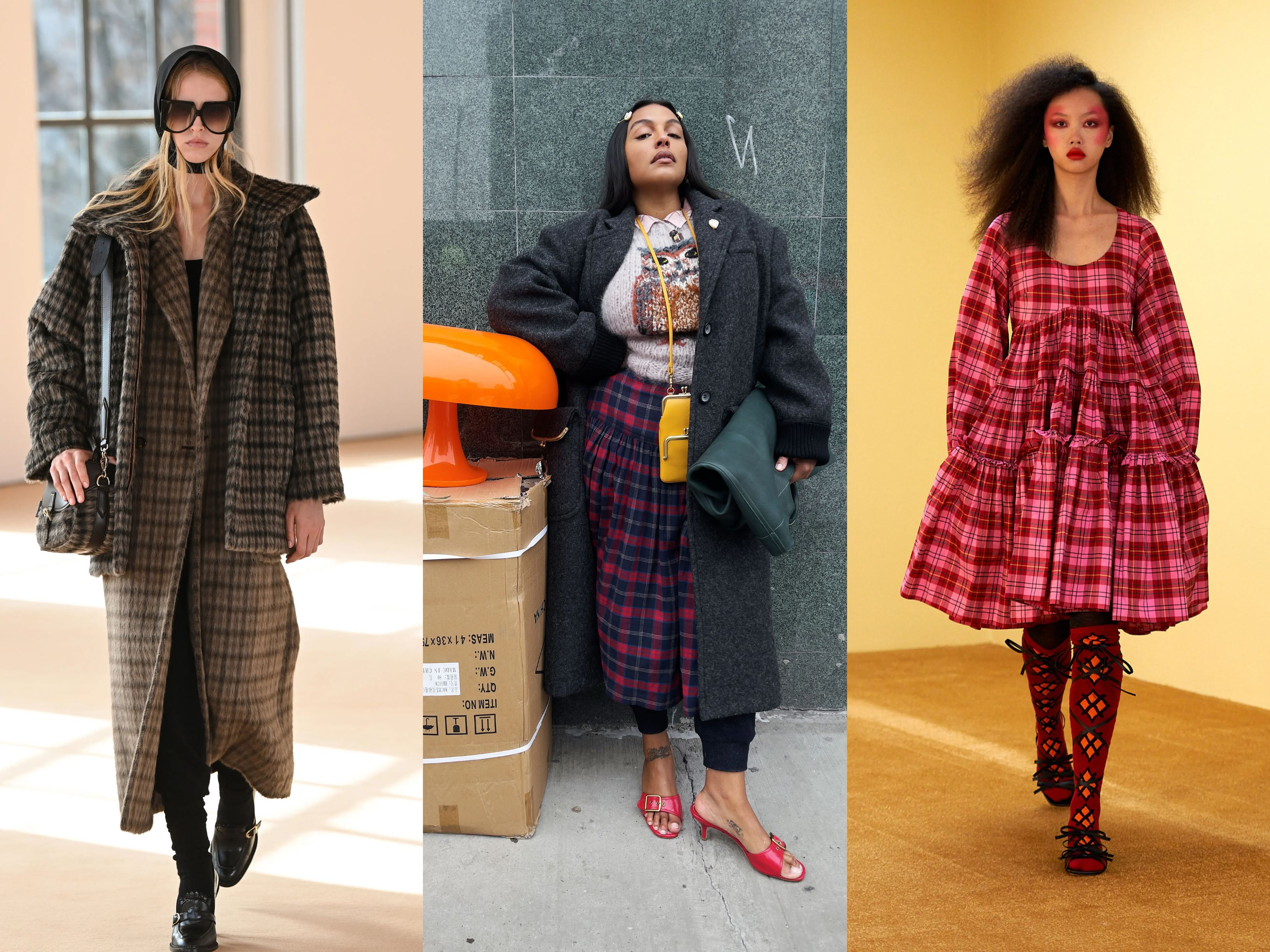 Models wearing AW21 trends Plaid