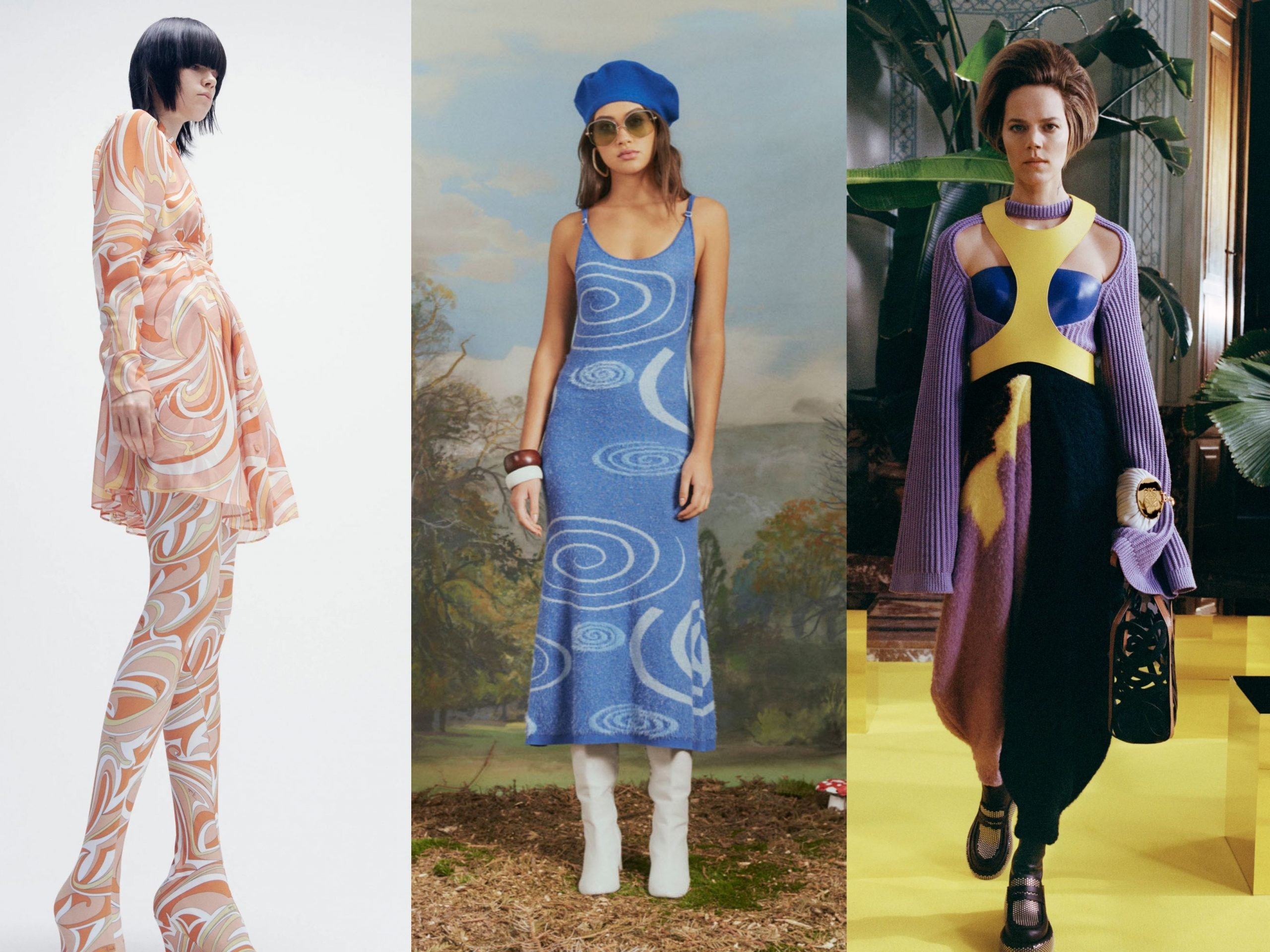 Models wearing AW21 trends abstract prints and sculpture